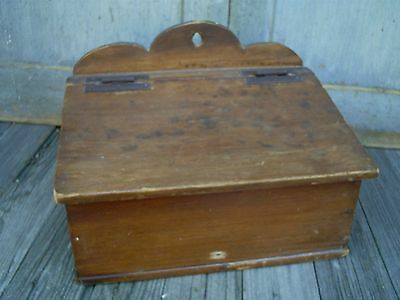 Antique Early Vintage Spice Candle Wood Box Slant Top Hanging Divided Box AAFA