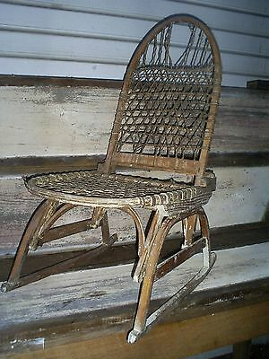 Antique Vintage Snowshoes Snow Shu Chair Rawhide Bent Wood Hickory Old Paint