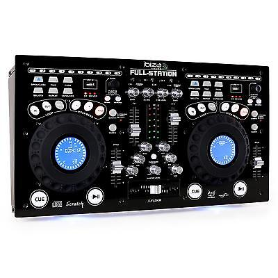Ibiza Full Station Double lecteur CD MP3 2x USB 2x SD mixer scratching égaliseur