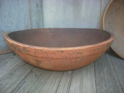 "19th C Wood Dough Bowl Early Paint 17"" Out Of Round Primitive Treen"