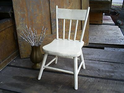 Early Vintage White Painted Folk Art Childs Chair Doll Chair Signed & Dated