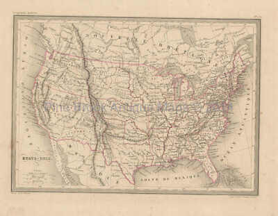 United States Antique Map Malte Brun 1850 Original