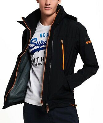b00a66fcff350 Superdry Mens Technical Hooded Wind Attacker Multi Zip Up Jacket Coat Black