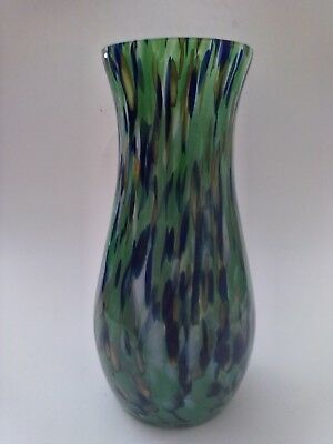 """Vintage Etched Czechoslovakia Art Glass Multi Colored Spatter Vase 8"""" Tall"""