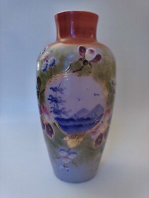 Bristol Art Glass Vase, Hand Painted Scenic Design W/ Enamel Flowers & Gold Trim
