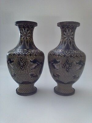 """Pair Of Antique Japanese Cloisonne Vases With Dragons, 6.5"""" Tall"""