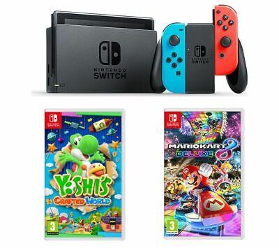 NINTENDO Switch Neon Red & Blue, Yoshi's Crafted World & Mario Kart 8 Deluxe