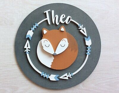 PERSONALISED FOX NAME PLAQUE DOOR SIGN  boy blue baby wooden wall art