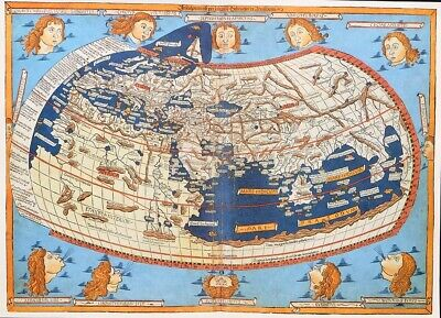 Vintage Map Print For Framing Of An Antique 1482  Beautiful Map Of The World