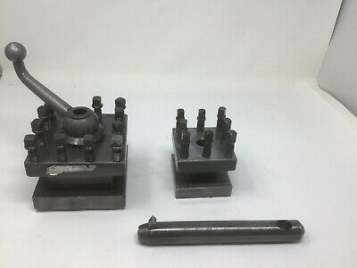 "Enco 4 1/2"" Square Tool Post Holder & Smaller 3 1/8"" Unmarked One & Boring Bar"