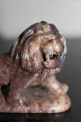 Antique Chinese Soapstone Carving of a ROARING LION
