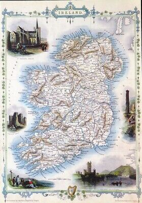 Vintage Map Print For Framing Of An Early Victorian Antique  Map Of Ireland