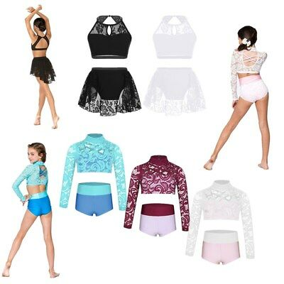 Two-Piece Girl Ballet Dance Gymnastics Outfits Floral Lace Crop Tops+Bottoms Set