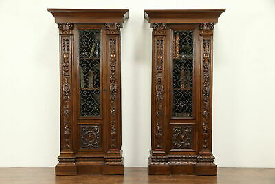 Pair of Italian Antique Bookcases, Lion & Dolphin Heads, Iron Grill Doors #30858