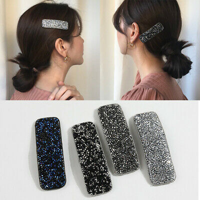Ladies Girls Rectangle Glitter Crystal Hair Clips Hairpins Barrette Slide Clips