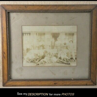 Antique 1880s Framed Cabinet Card Photograph Baseball Team Bat Gloves Ball