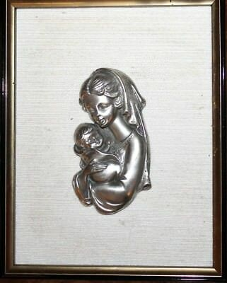 Vintage Etains Du Prince Pewter Plaque Woman And Baby