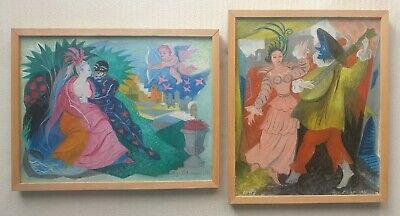 OLGA LEHMANN 1912-2001 two superb original signed oil paintings - theatre scenes