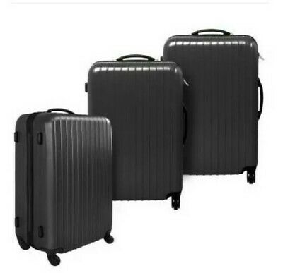 @ Set of 3 travel cases SYLT hard shell trolley bag luggage Suitcase Black 21:14