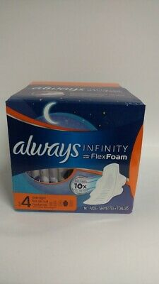 Always Infinity Overnights Pads With Avec FlexFoam & Flexi-Wings, 14 Pads