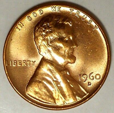 1960-D 1C Lincoln Memorial Cent 18cl0901 BU Lg Date Only 50 Cents for Shipping""
