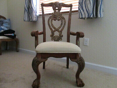 Armchair Antique Style Oak Finish Carvings Accent Arm Chair Wood Upholstered