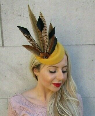 Mustard Yellow Navy Blue Pheasant Feather Pillbox Hat Fascinator Hair Clip 7151