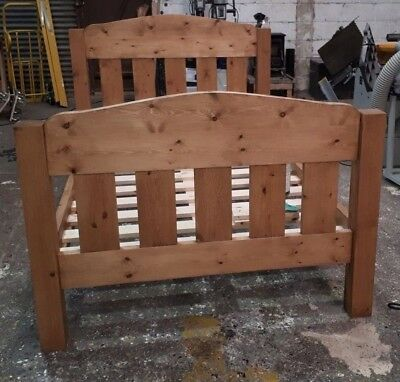 Handmade Rustic Chunky Pine Arch Top Bed Frame (low toe/low toe elongated posts)