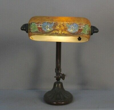 Antique Spanish Revival 1920's Signed Handel Table Lamp With Glass Shade (11757)