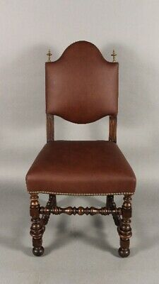 Antique 1920's Spanish Revival Walnut and Leather Desk Chair (11773)