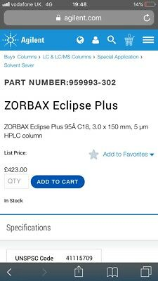 ZORBAX Eclipse Plus 95Å C18, 3.0 x 150 mm, 5 µm HPLC column
