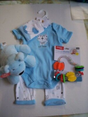 Baby Boy Gift Set, 0-3 Months,Lil' Tiger 4 Piece Outfit, Rattle, & Stuffed Puppy