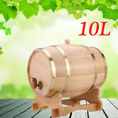 10L Vintage Wood Oak Timber Wine Barrel for Wine/Whiskey/Brandy/Tequila Rum Port