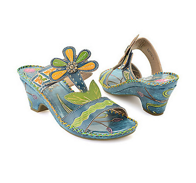 8b5913db5  NEW  Corky s ELITE Sandals Pacific Hand Painted NAVY Blue Leather Sz 7  NIB