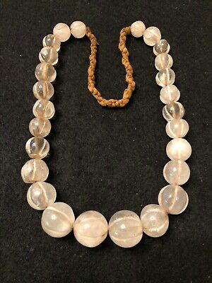 Antique Vintage Tibetan Hand Carved Natural Rock Crystal Melon Trade Bead Strand