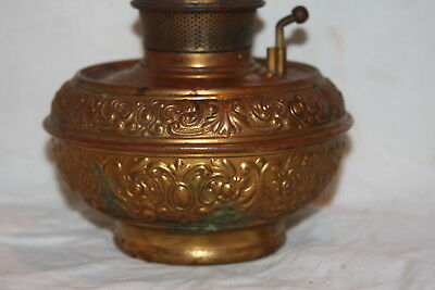 Antique Brass Bradley Hubbard Central Draft Burner Kerosene Lamp & Chimney