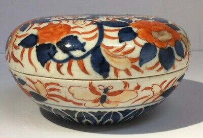 Antique Japanese Meiji Period Imari Oval Shaped Covered / Lidded Box, Butterflys
