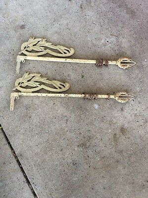 2 Antique Vintage Cast Iron Metal Curtain Drapery Rods Swing A Way-Extending