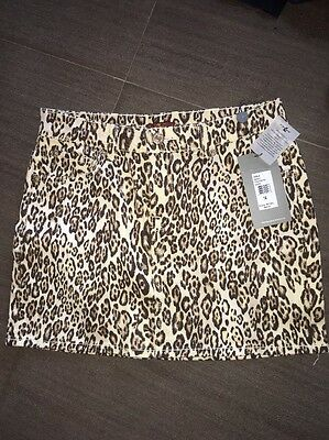 Seven For All Mankind Girls Size 14 Leopard Print Jean Skirt Retail $69