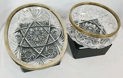 Pair Of Antique Cut Glass Bowls With 800 Silver Marked Rims