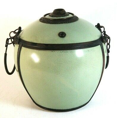 Antique Vietnamese O Pot Water Tobacco Pipe Jar Celadon Crackle Glazed Porcelain