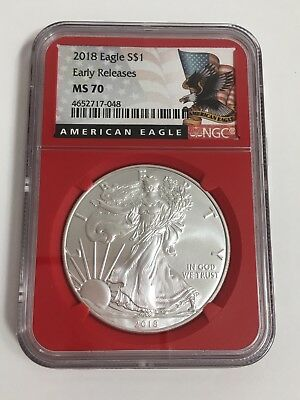 2018 American Silver Eagle S$1 NGC MS70 Early Releases Red Core