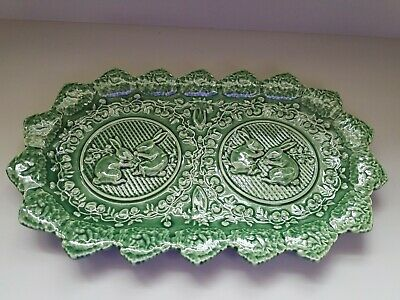 "BORDALLO PINHEIRO Portugal Green 13"" PLATTER TRAY PLATE Bunny Rabbit Carrot"