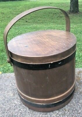 Antique Large Wooden Firkin Sugar Bucket Pail Shaker Swing Handle Lid Farmhouse