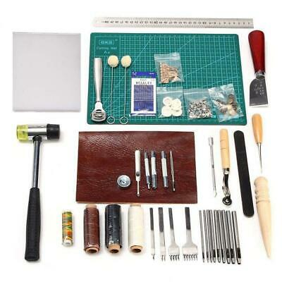 Leather Sewing Tools 44 pcs Craft Kit for Hand Stitching, Stamping Set and...