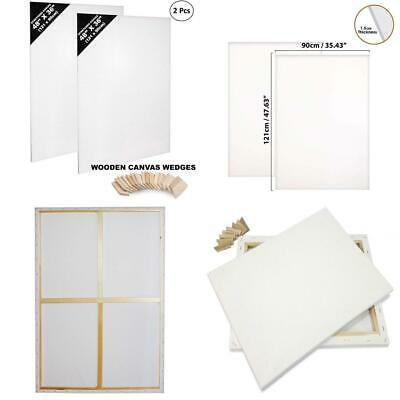 Canvas Board - Pack of 2 Large Pre-Stretched Panels with Wooden 2