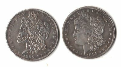1885 Morgan Dollar Two Face Magic Trick Coin skull zombie two headed