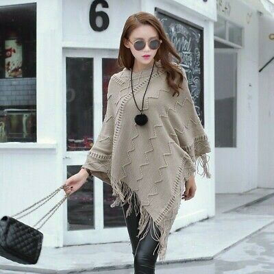 Women Knitted Poncho Cape Wrap Shawl Batwing Fringe Sweater Top Pullover Outwear
