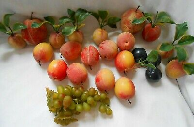Lot of 23 pcs Vintage Crafts Flocked Fruits Peaches Plums Grapes with Leaves