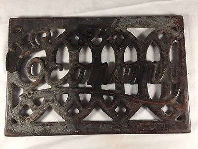 Antique 1864 Cast Iron Porcelain Register Cover Grate Heavy Prince Economy